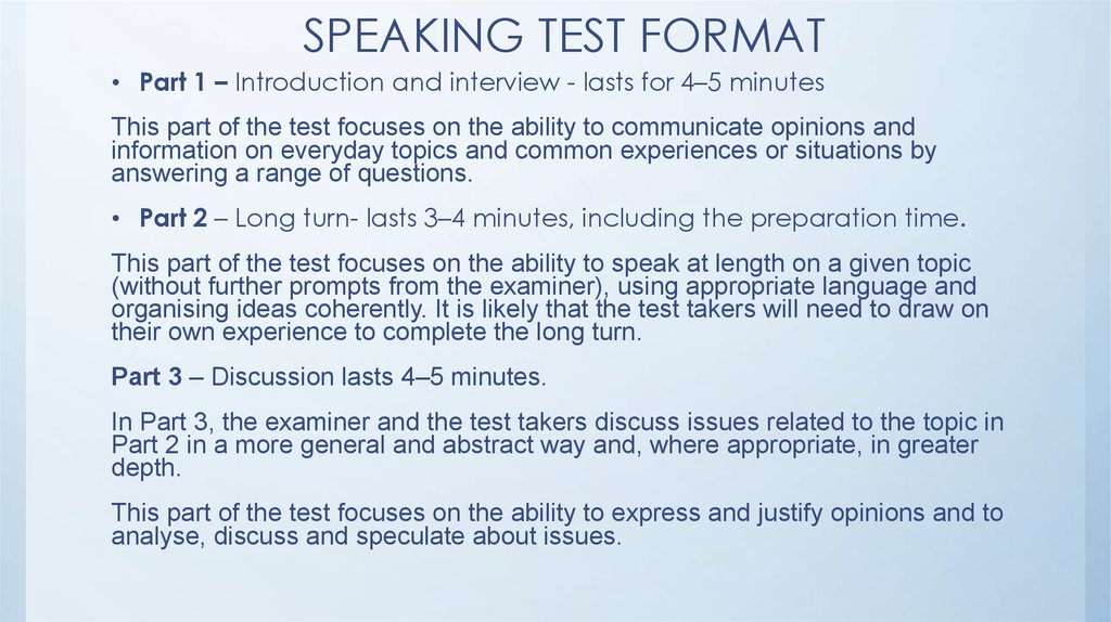 SPEAKING TEST FORMAT