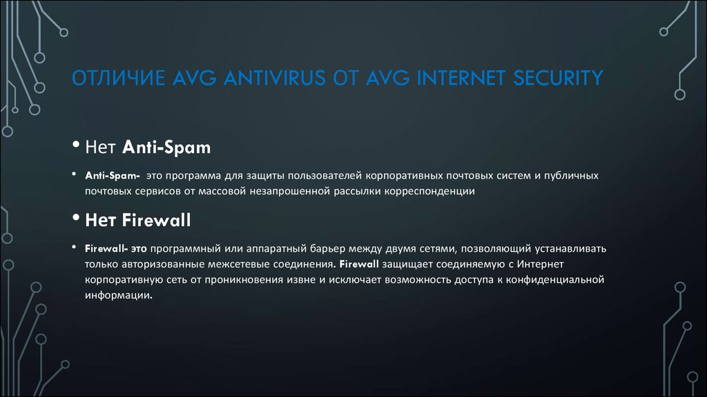 Отличие AVG AntiVirus от AVG Internet Security