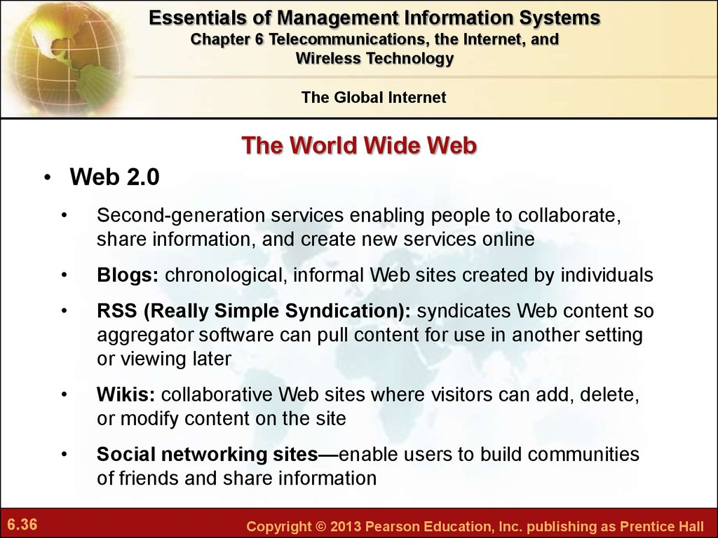 Chapter 6 Telecommunications The Internet And Wireless Technology Online Presentation