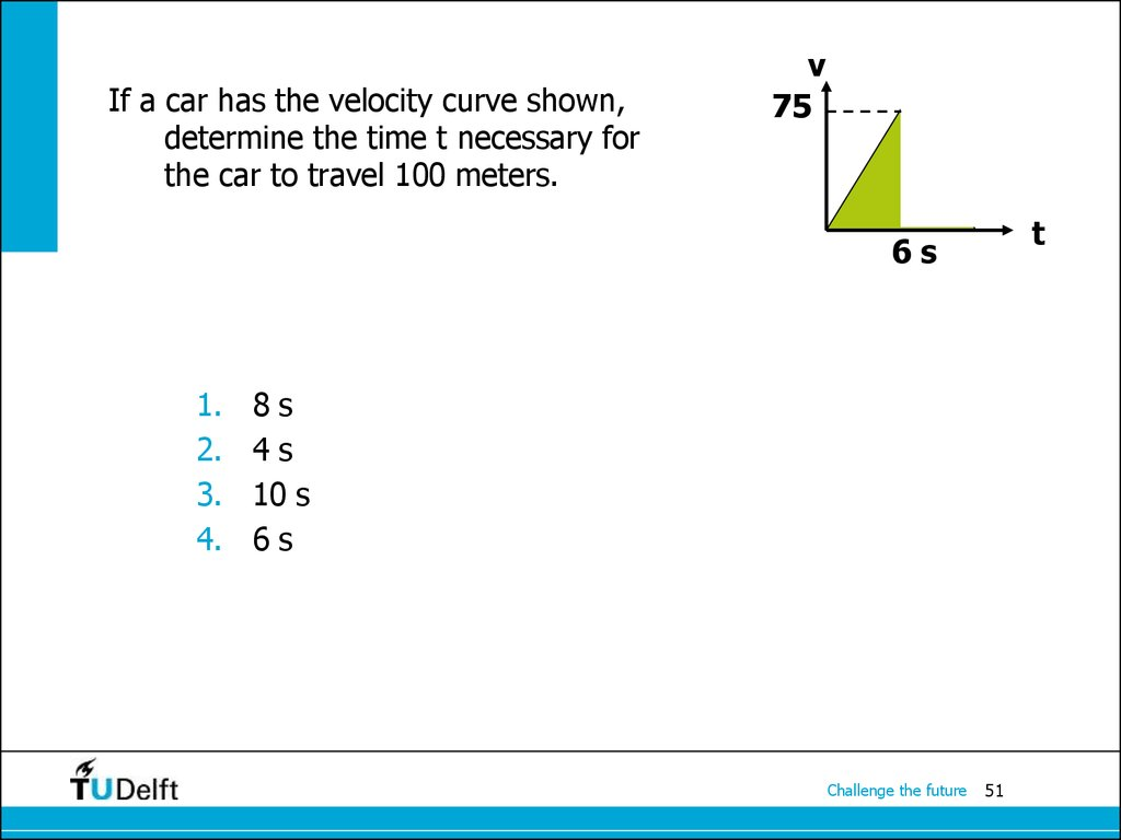 If a car has the velocity curve shown, determine the time t necessary for the car to travel 100 meters.