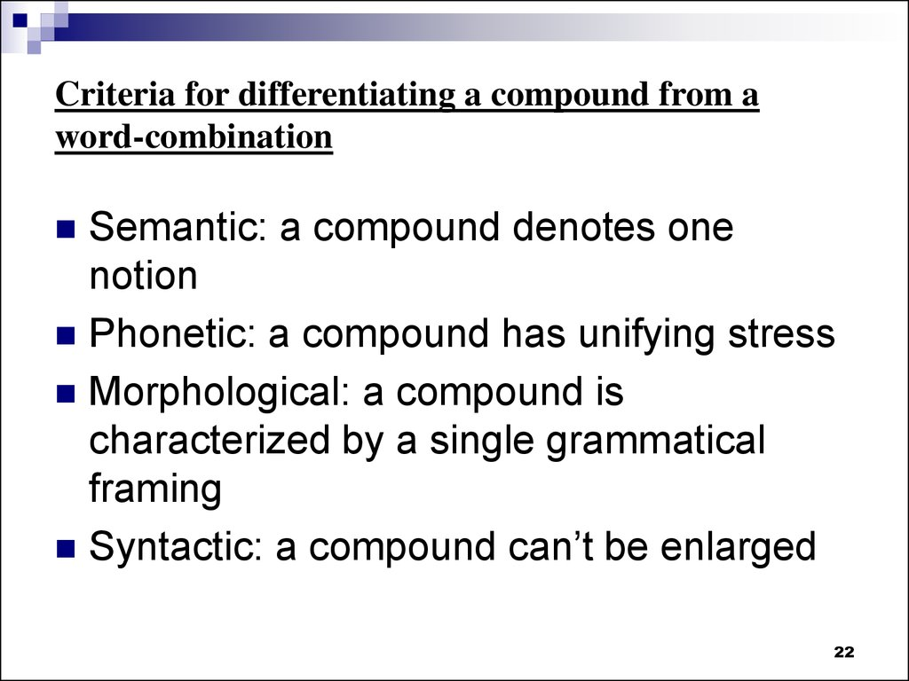 Criteria for differentiating a compound from a word-combination