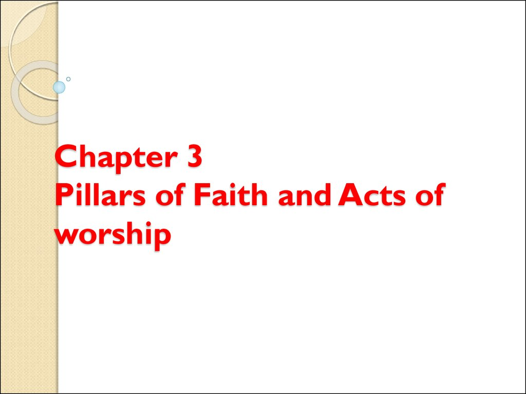 Chapter 3 Pillars of Faith and Acts of worship
