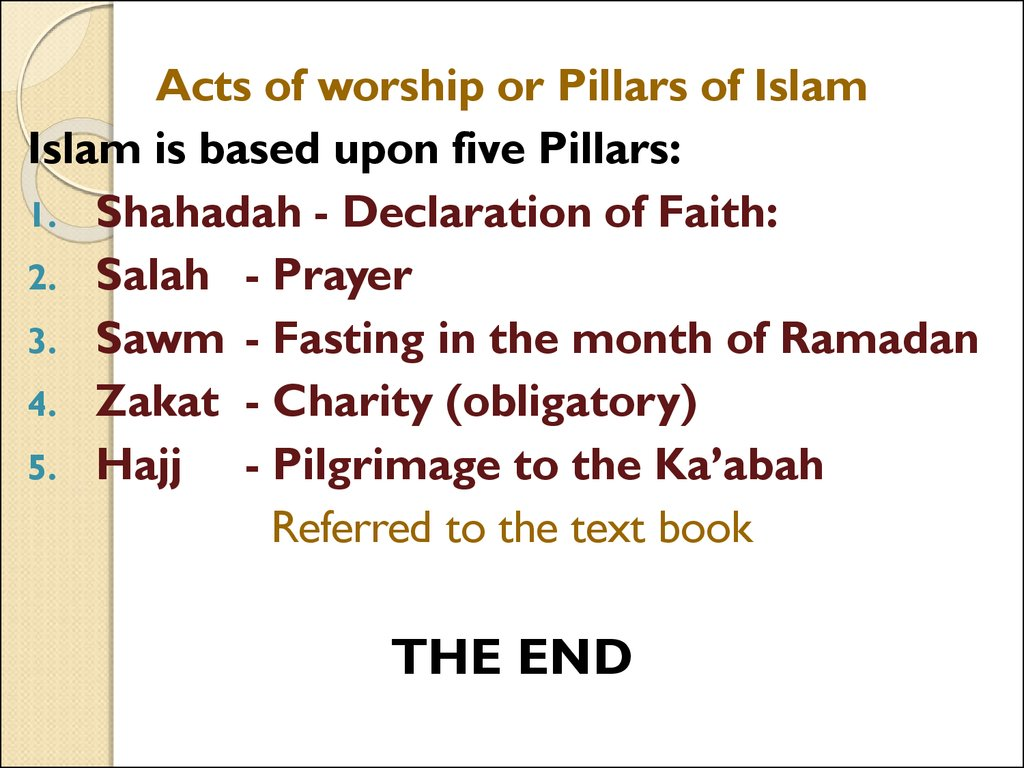 pillars of faith and acts of worship online presentation