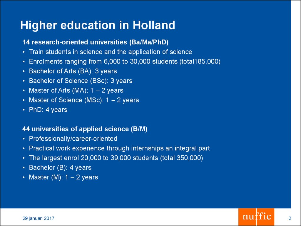 Higher education in Holland
