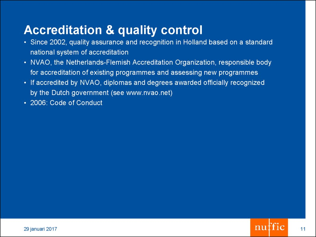 Accreditation & quality control