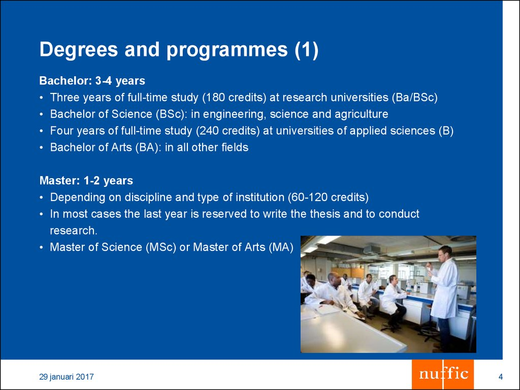 Degrees and programmes (1)