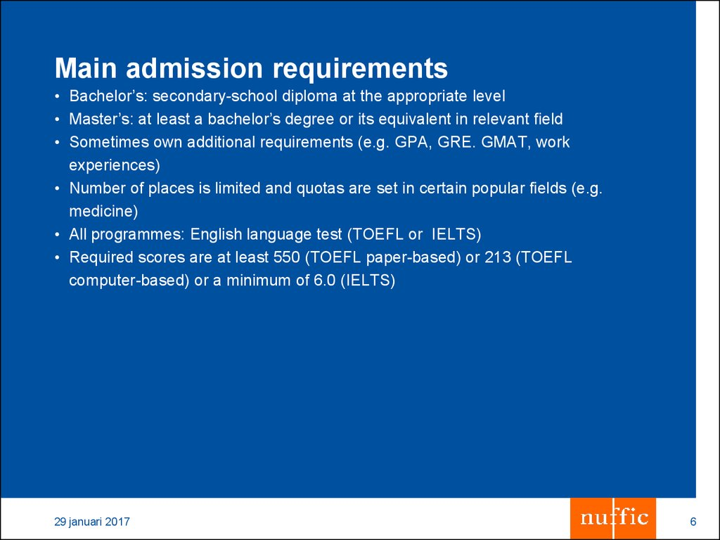 Main admission requirements