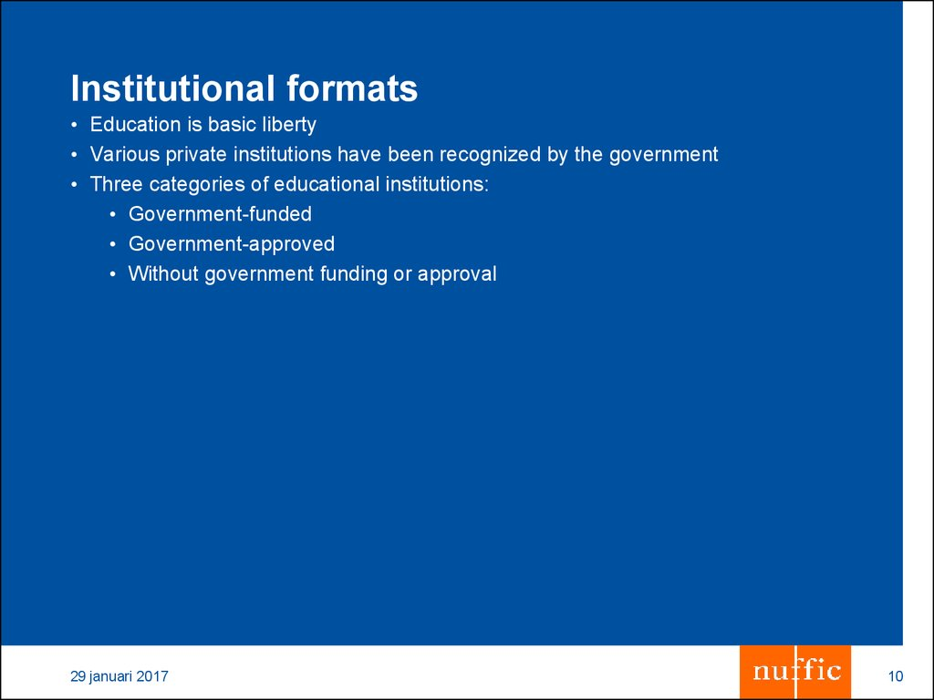 Institutional formats