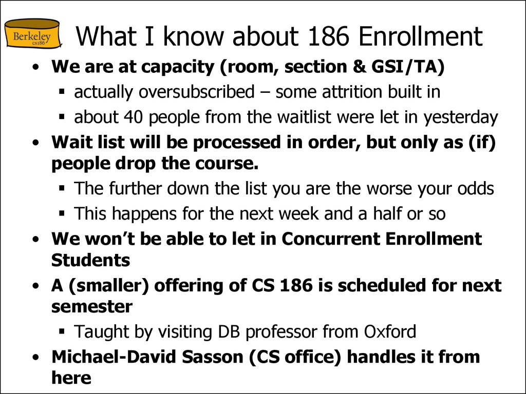 What I know about 186 Enrollment
