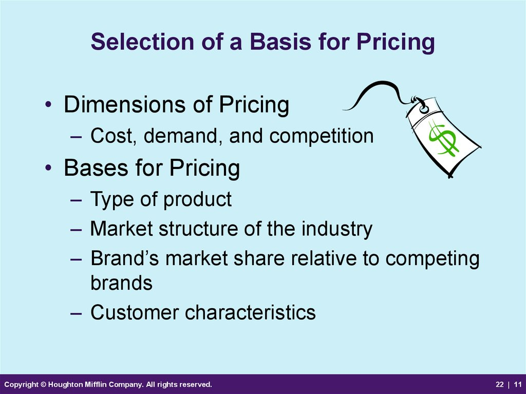 Selection of a Basis for Pricing
