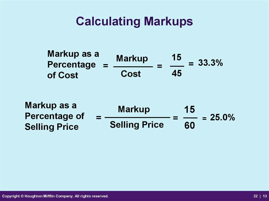 Calculating Markups