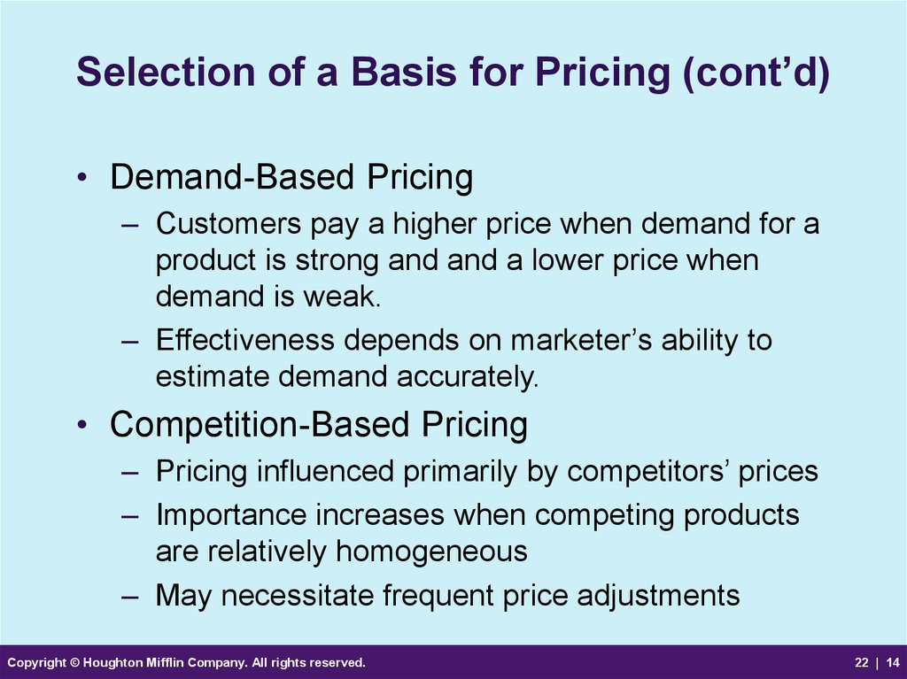 Selection of a Basis for Pricing (cont'd)