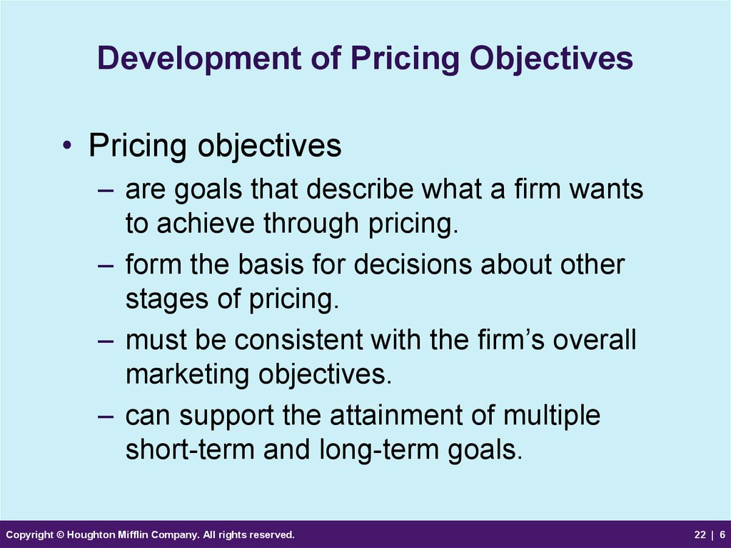 Development of Pricing Objectives