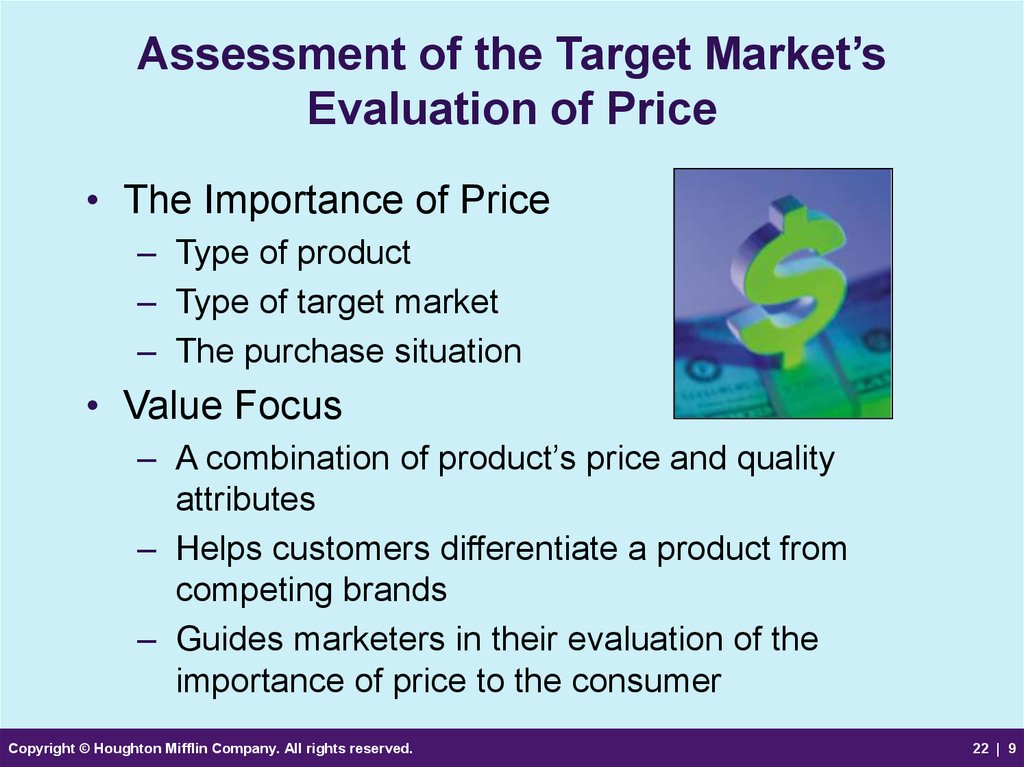 Assessment of the Target Market's Evaluation of Price
