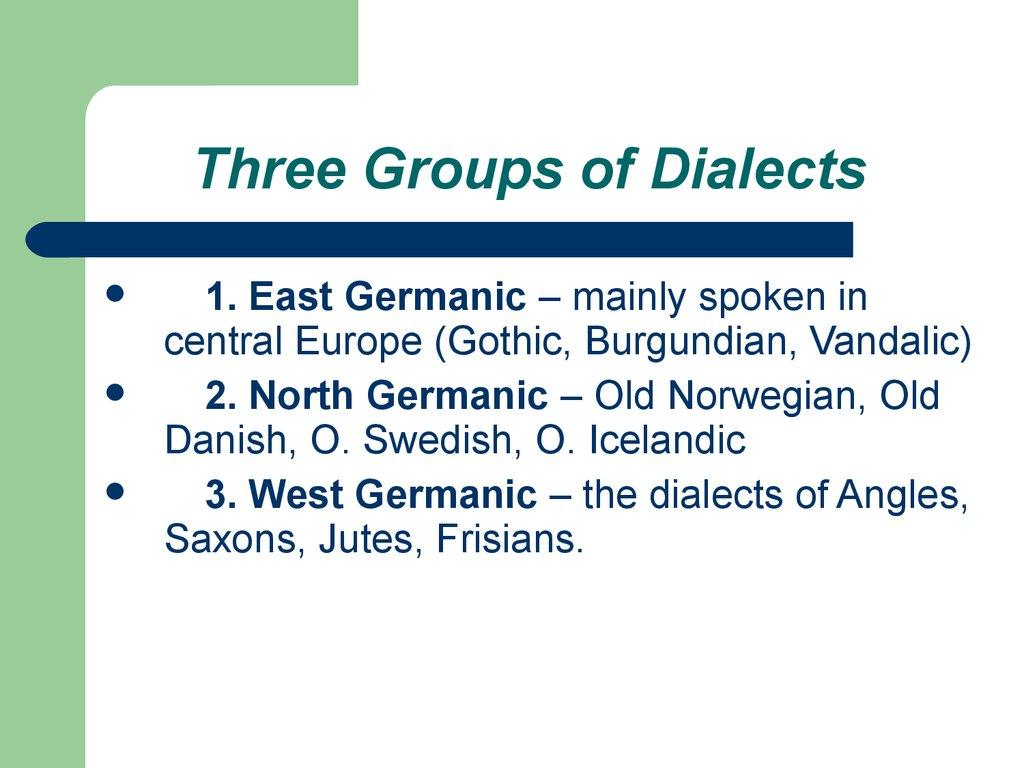 Three Groups of Dialects