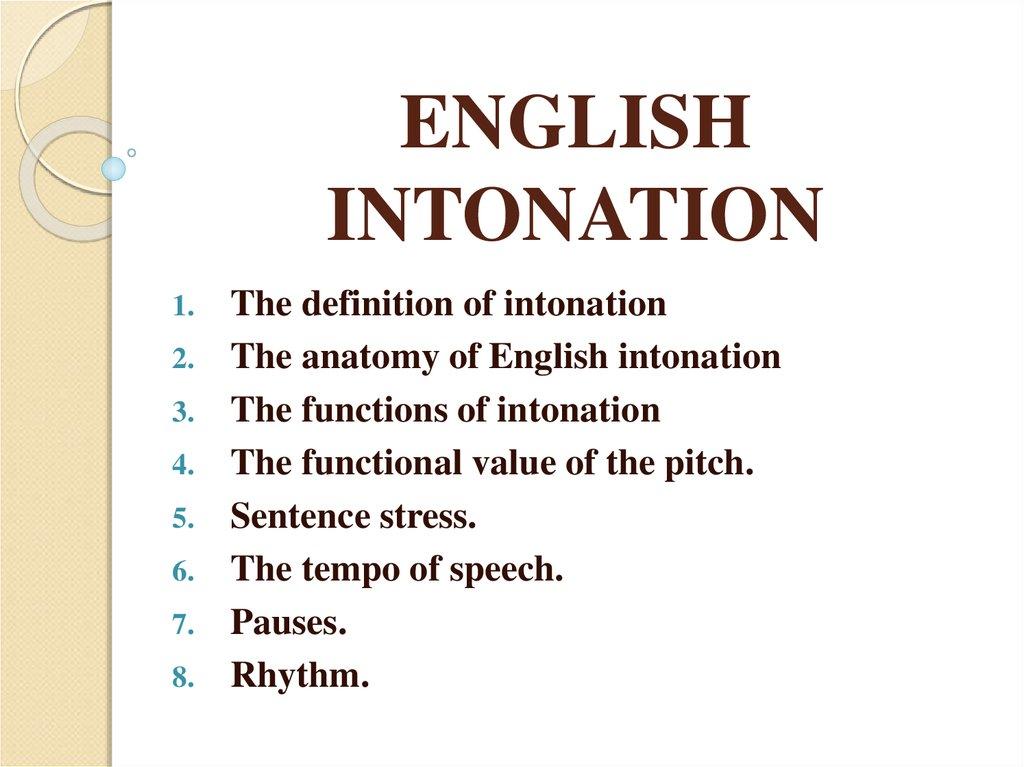 English intonation - online presentation