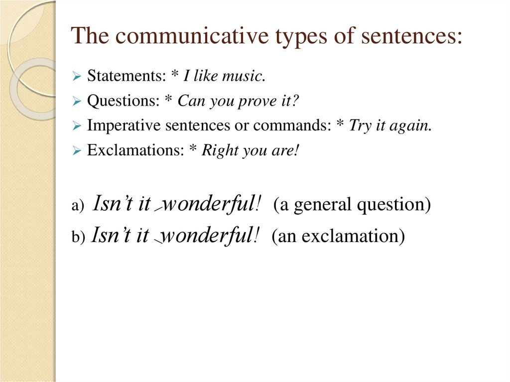 The communicative types of sentences:
