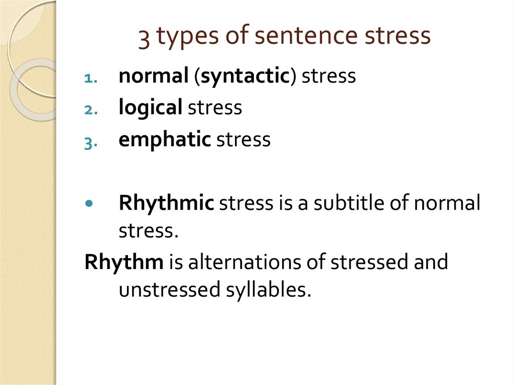 3 types of sentence stress