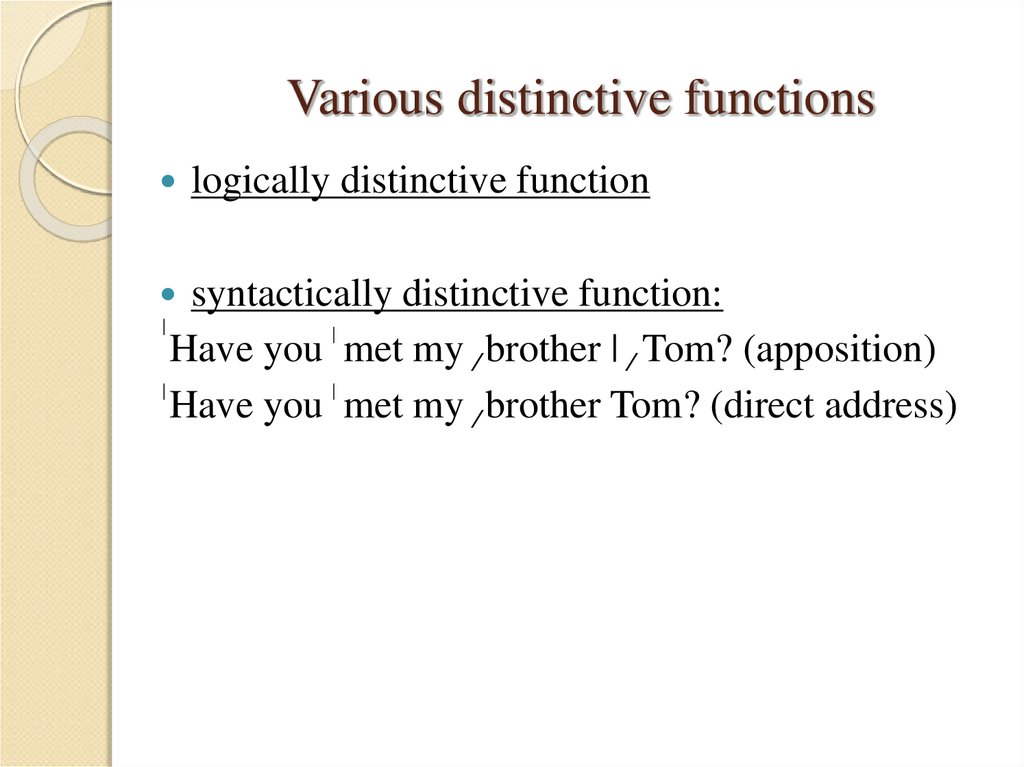 Various distinctive functions