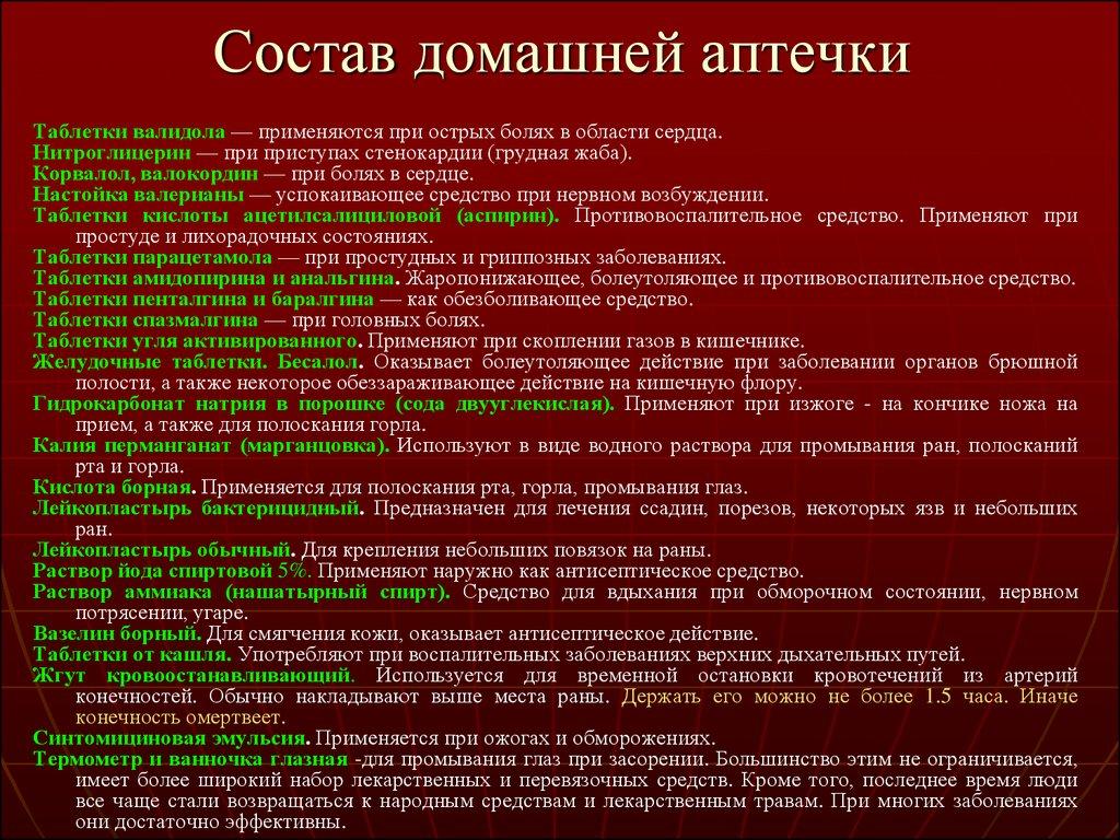 Список лекарственных средств аптеки