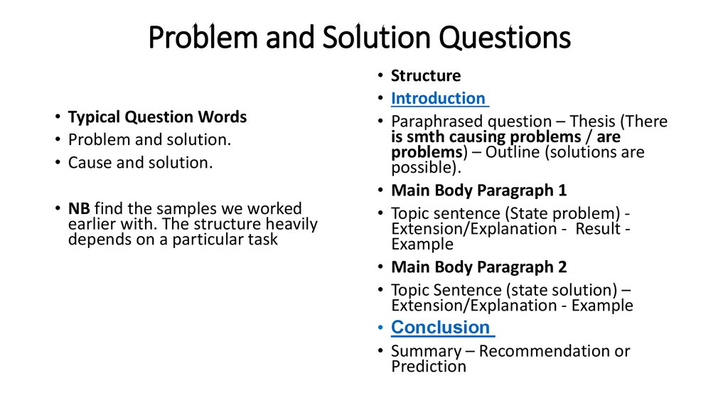 Problem and Solution Questions