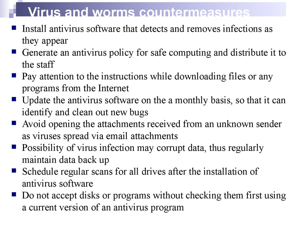 Virus and worms countermeasures
