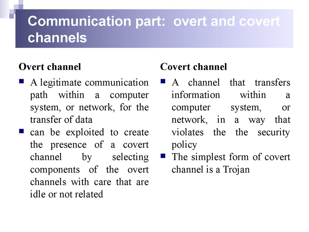 Communication part: overt and covert channels