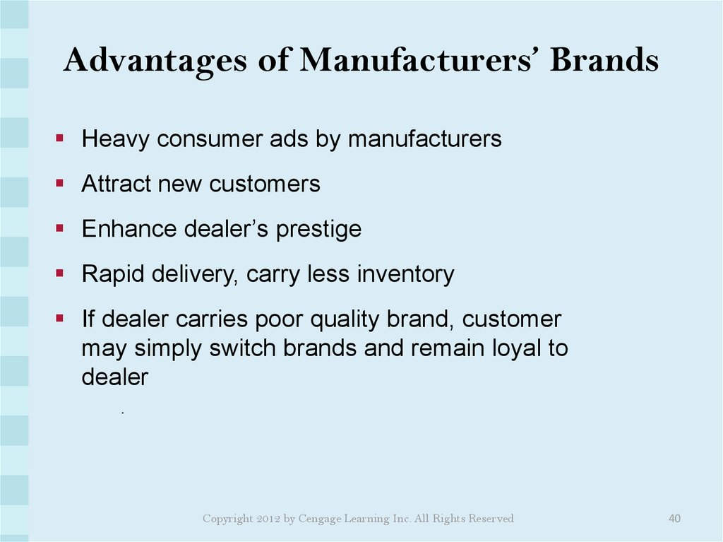 Advantages of Manufacturers' Brands
