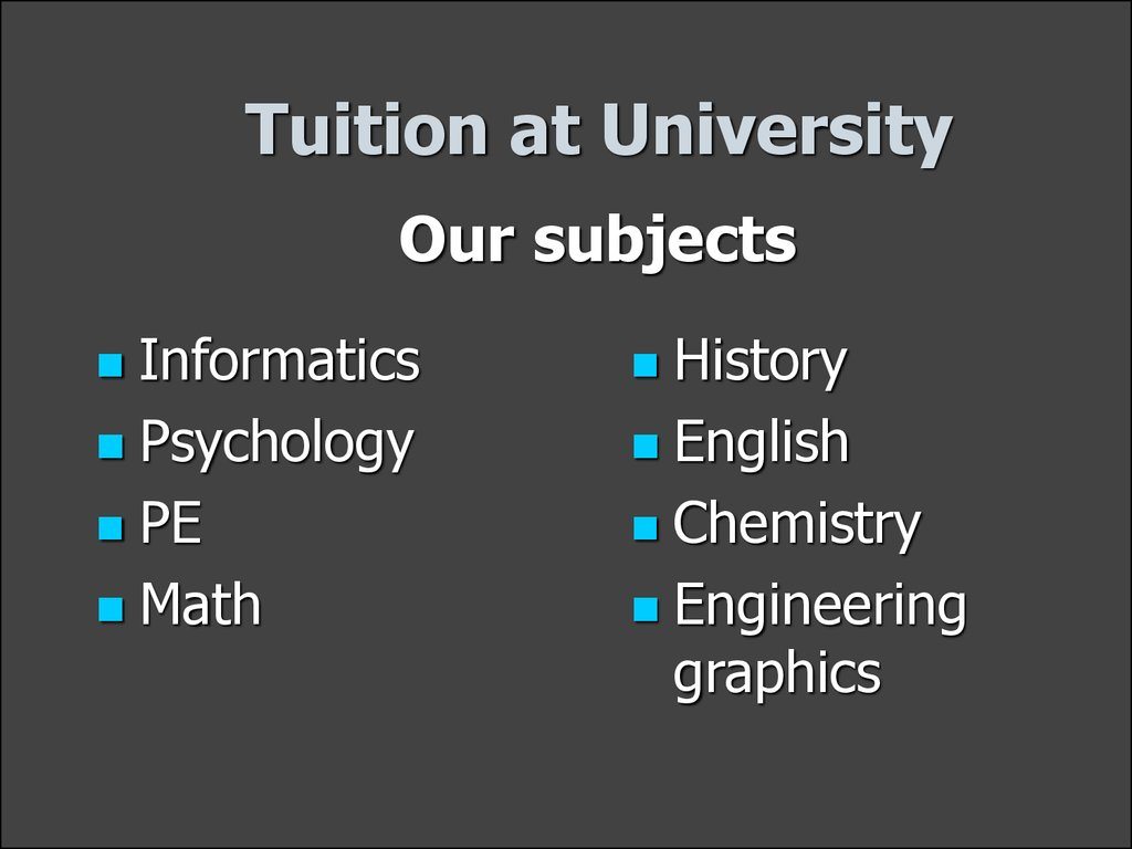 Tuition at University