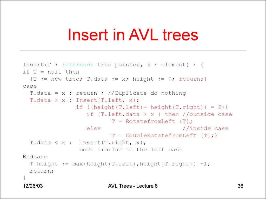 AVL trees  (Lecture 8) - online presentation