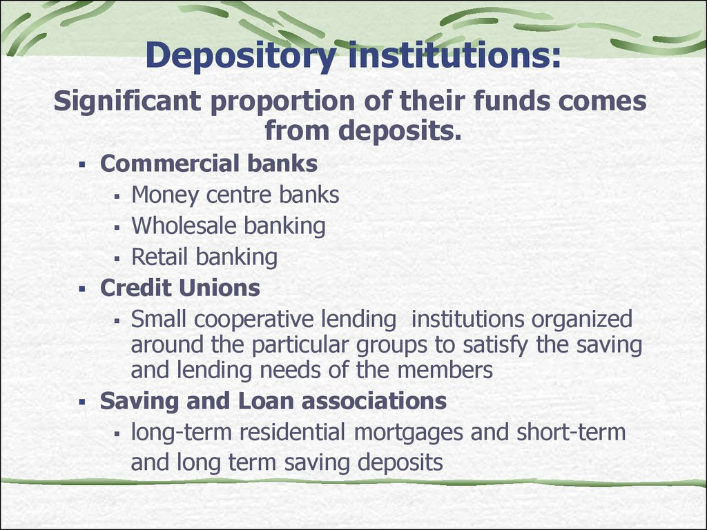 Depository institutions:
