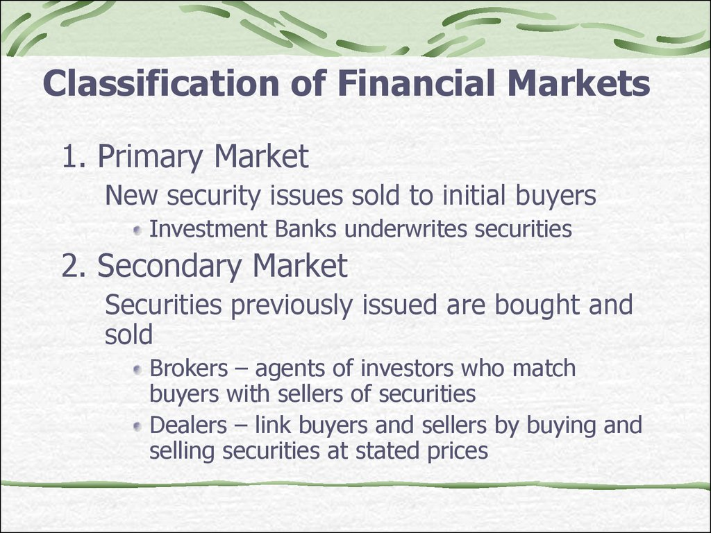 Ch1-2. Overview of the financial system. Financial Institutions and Markets - презентация онлайн