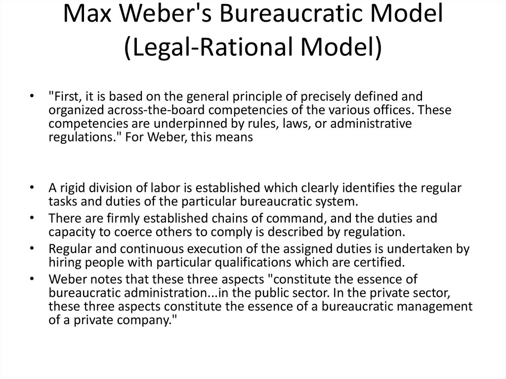 max weber on bureaucracy essay Max weber 1864-1920  german sociologist, economist, and political theorist regarded as one of the founders of modern sociological thought, weber has had an immense impact on social science in.