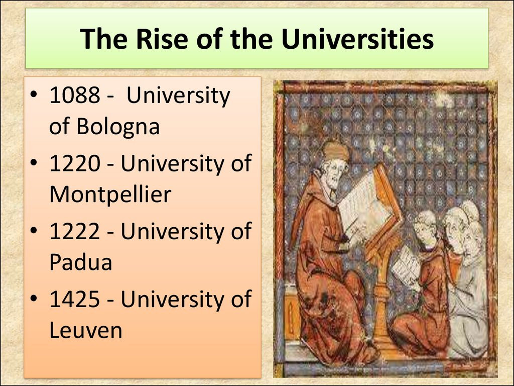 The Rise of the Universities