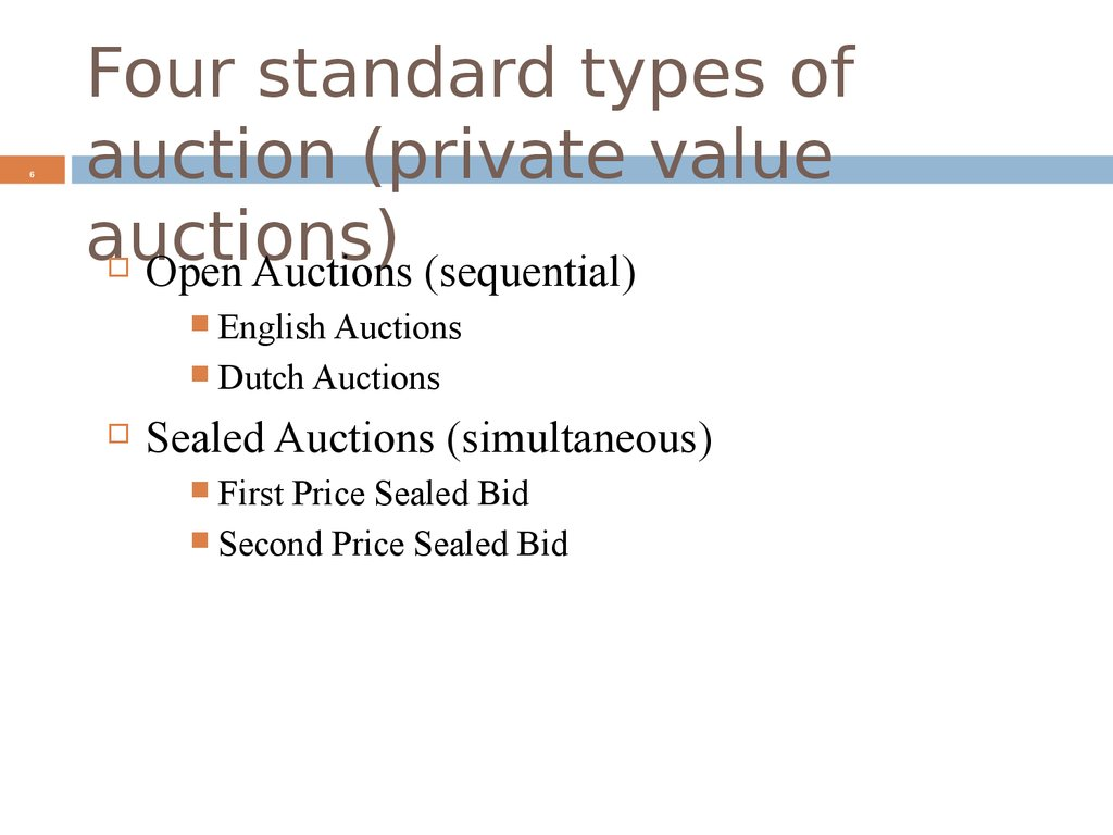 Four standard types of auction (private value auctions)