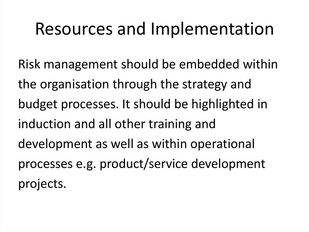 Resources and Implementation