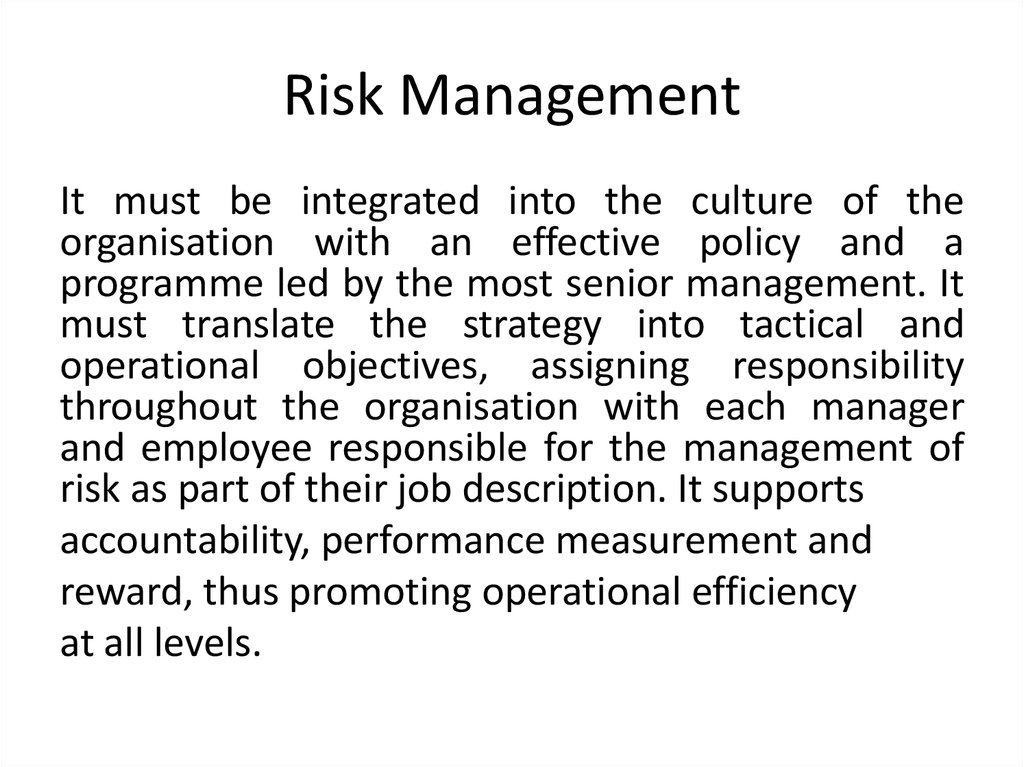 Risk management approaches - online presentation