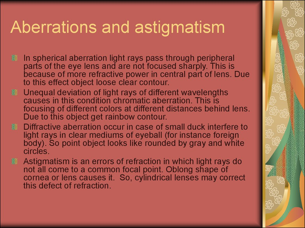 Aberrations and astigmatism