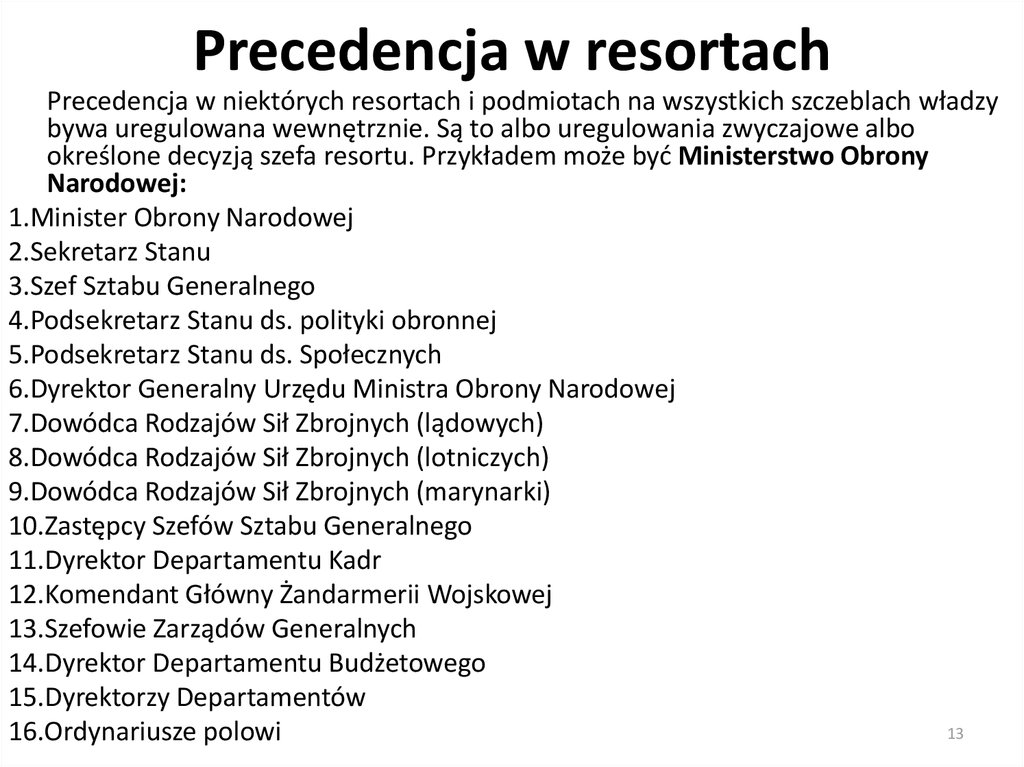 Precedencja w resortach