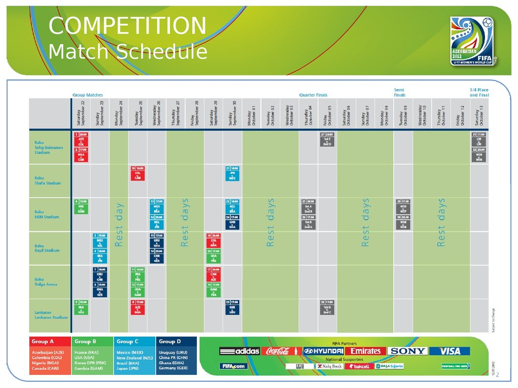 COMPETITION Match Schedule
