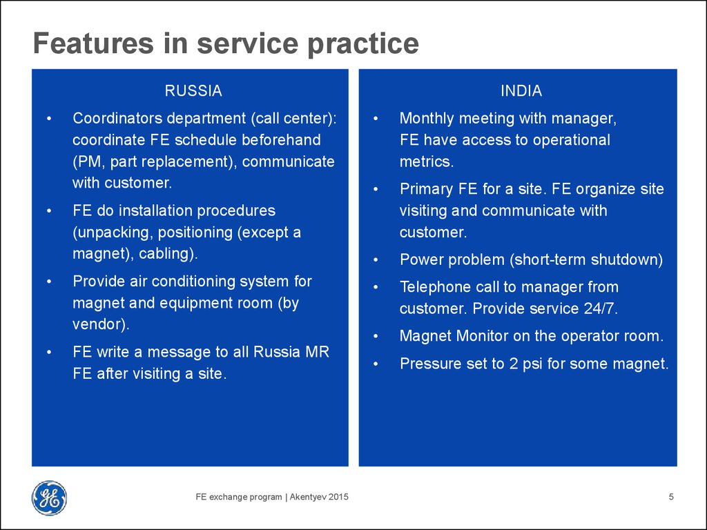 Features in service practice
