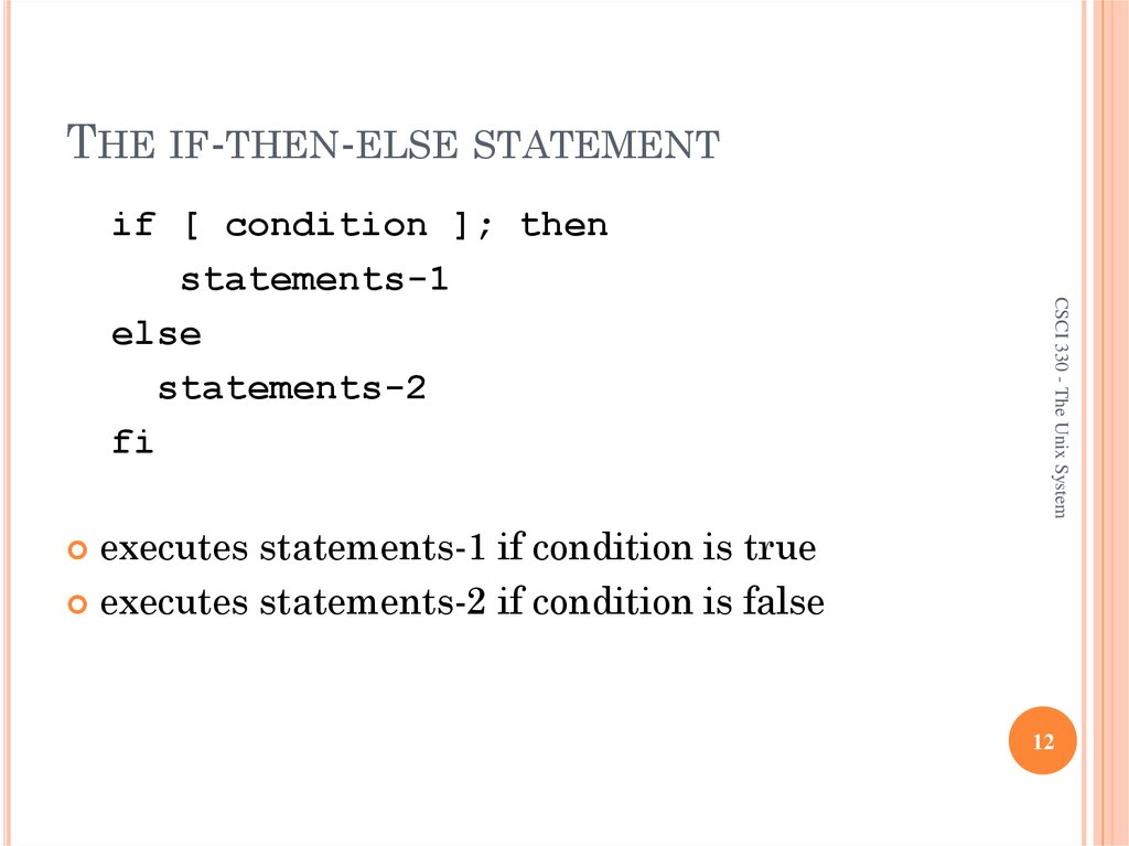 THE IF-THEN-ELSE STATEMENT