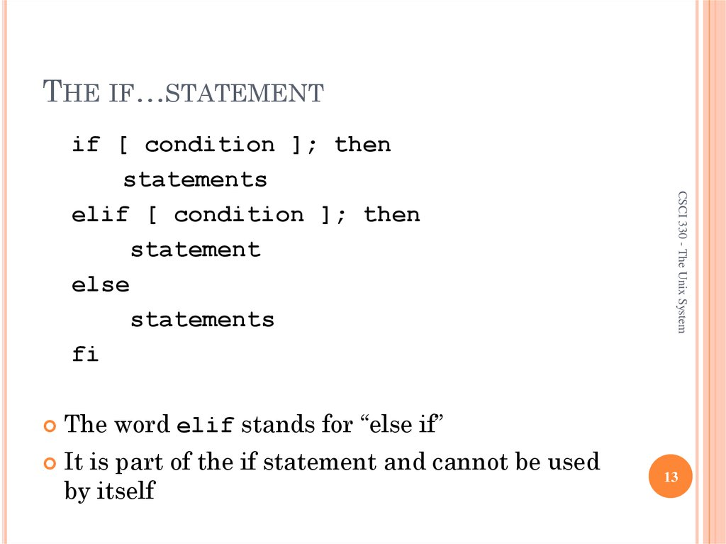 THE IF…STATEMENT