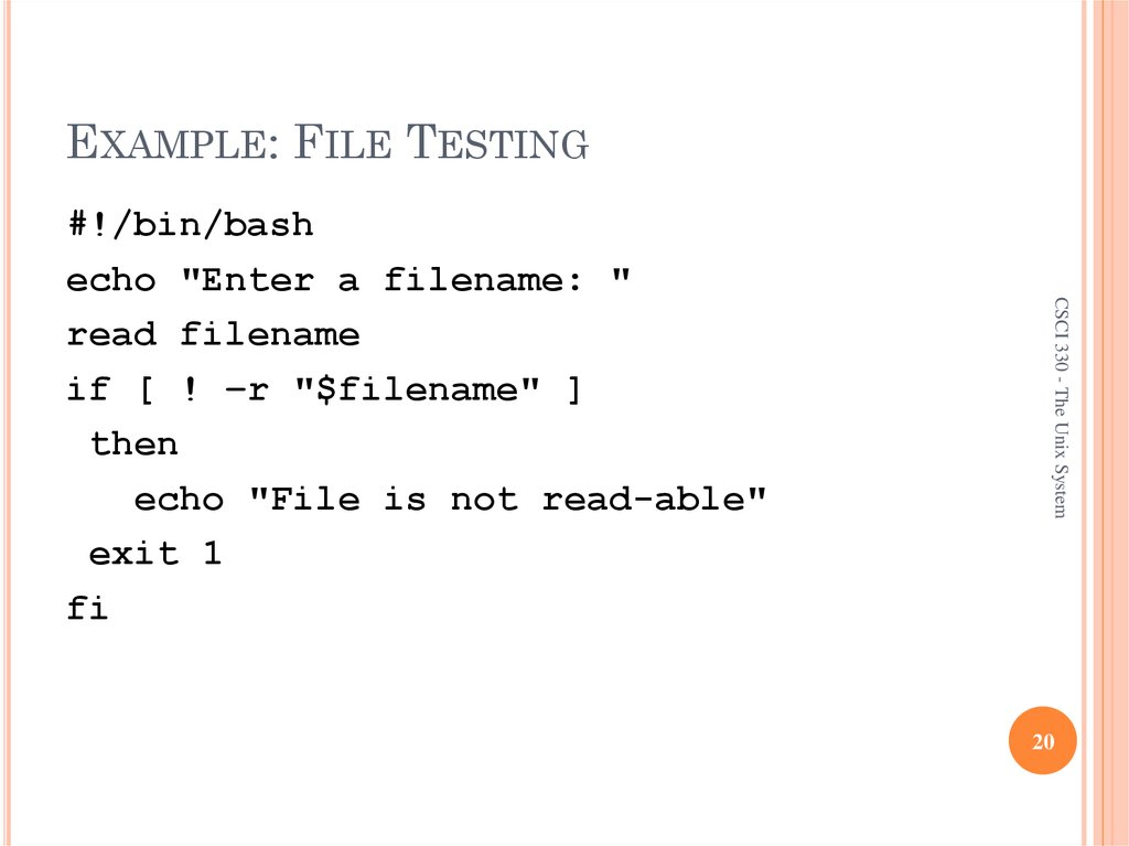 EXAMPLE: FILE TESTING
