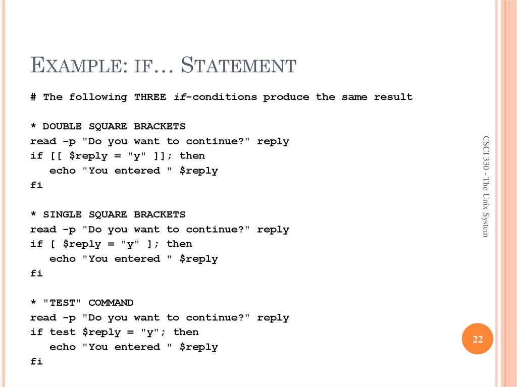 EXAMPLE: IF… STATEMENT