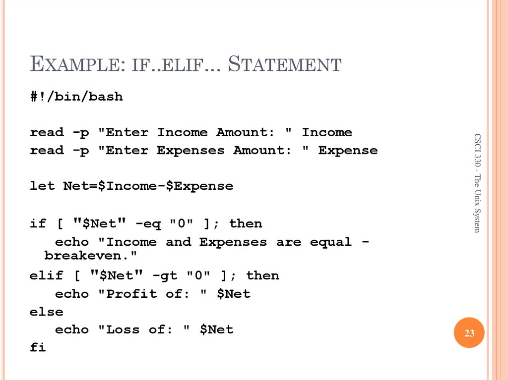 EXAMPLE: IF..ELIF... STATEMENT