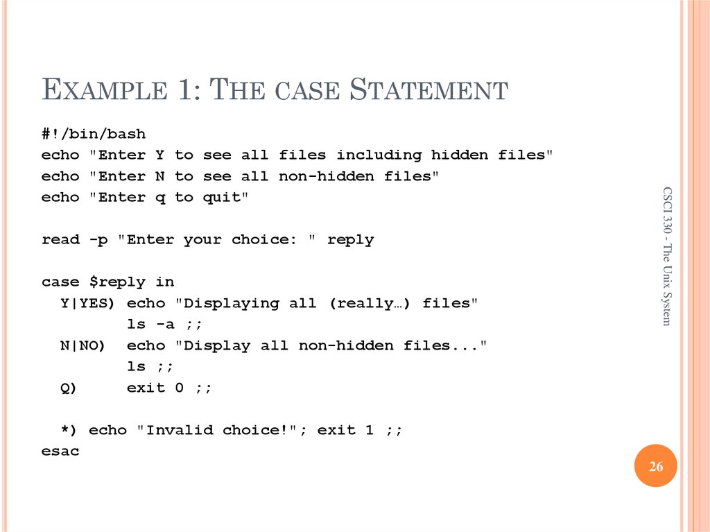 EXAMPLE 1: THE CASE STATEMENT