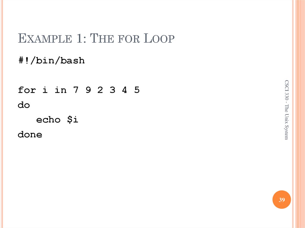 EXAMPLE 1: THE FOR LOOP