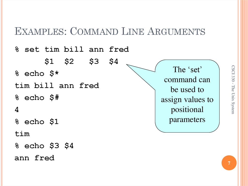 EXAMPLES: COMMAND LINE ARGUMENTS