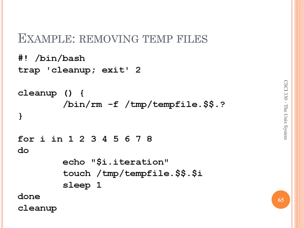 EXAMPLE: REMOVING TEMP FILES
